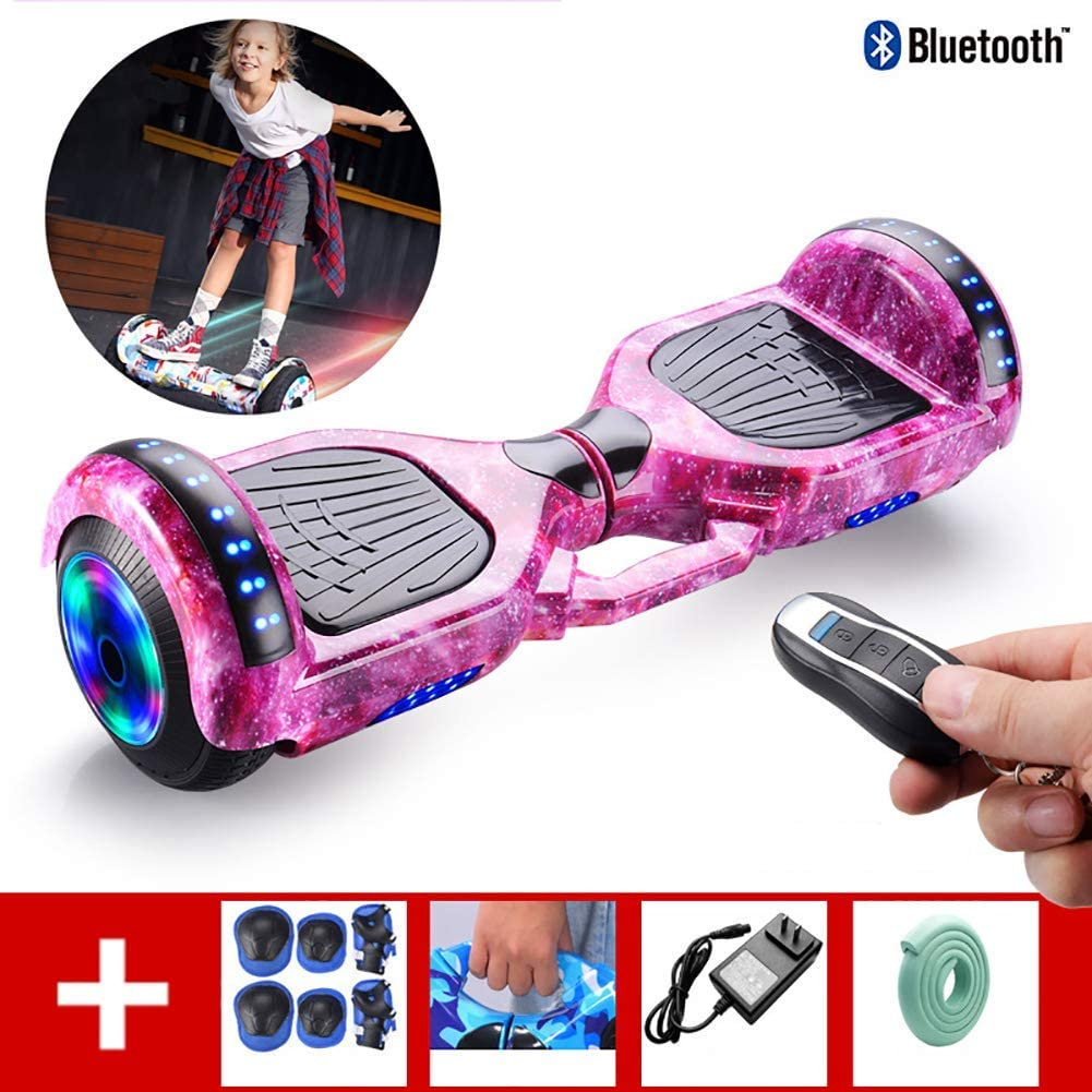 QX Scooter 7 inch Self Balancing Scooter with Wireless Remote Control with Bluetooth Speaker, Led Lights, Flashing Wheels, for Kids and Adults+ a Set of Protective Gear,Purple