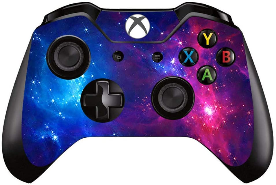 eSeeking Whole Body Vinyl Sticker Decal Cover for Xbox One Controller - Blue and Red Cosmic Nebular