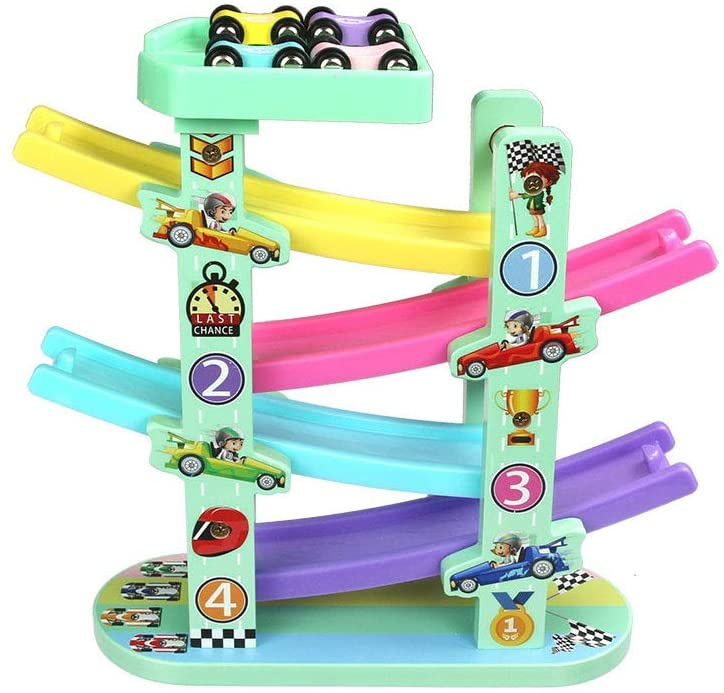 QREZ Ramp Racer Track Toy for Toddlers, Car Ramp Toy, Wooden Kids Toys with 4 Cars, Children's Educational Toys, Race Toys Gifts for Toddlers Boys and Girls