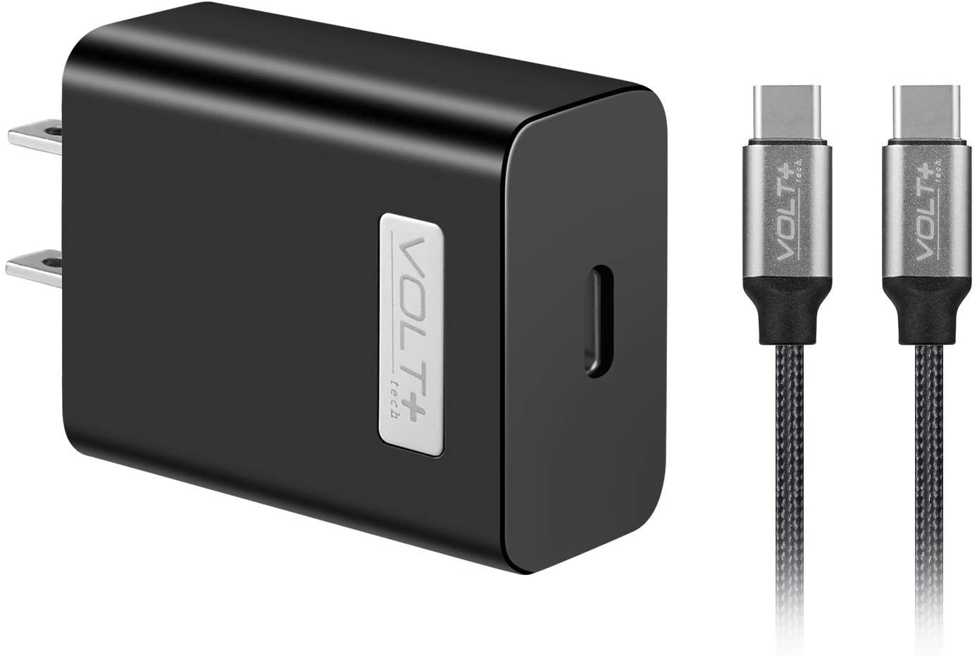 Volt Plus Tech Quick Fast Charge 18W Wall Charger Works for Nintendo Switch Lite with Dual PDUSB-C Cable! (Black)!