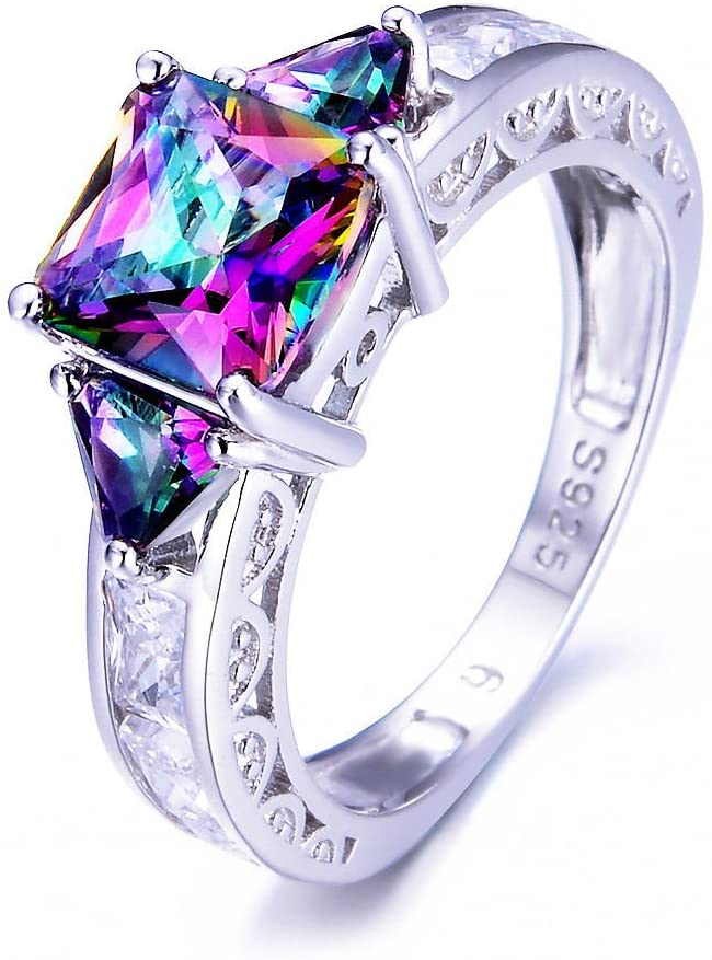 iGEM 925 Sterling Silver Princess Cut Rainbow Mystic Topaz Ring Wedding Band (10)