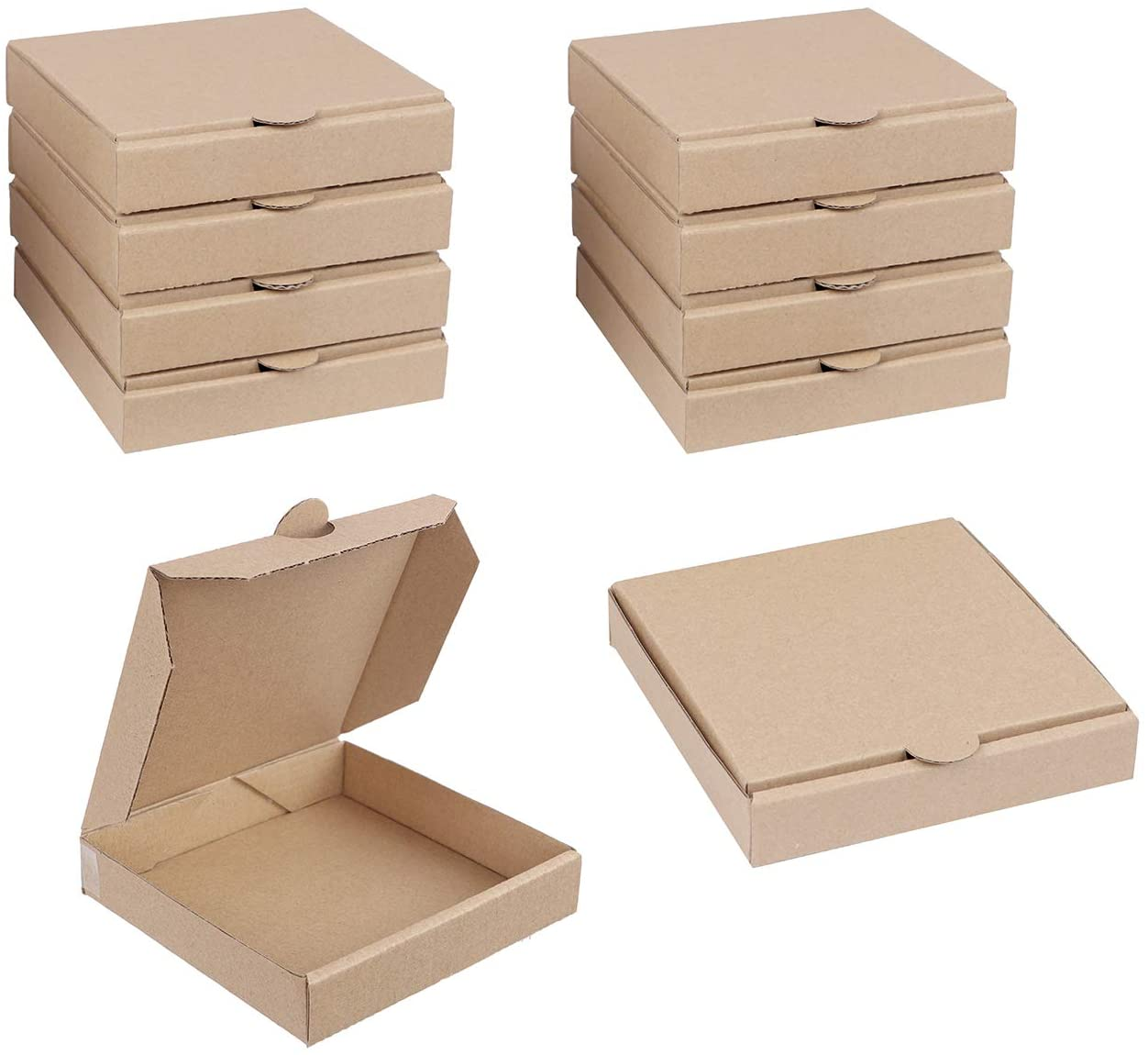 Spec101 Kraft Mini Pizza Boxes, 5 Inch for Cookies, Party Favor, Craft- Food Safe Miniature Cardboard Box 10-Pack