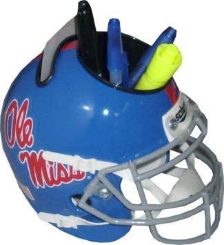 Ole Miss Rebels (Blue) TB NCAA Football Schutt Mini Helmet Desk Caddy - College Mini Helmets