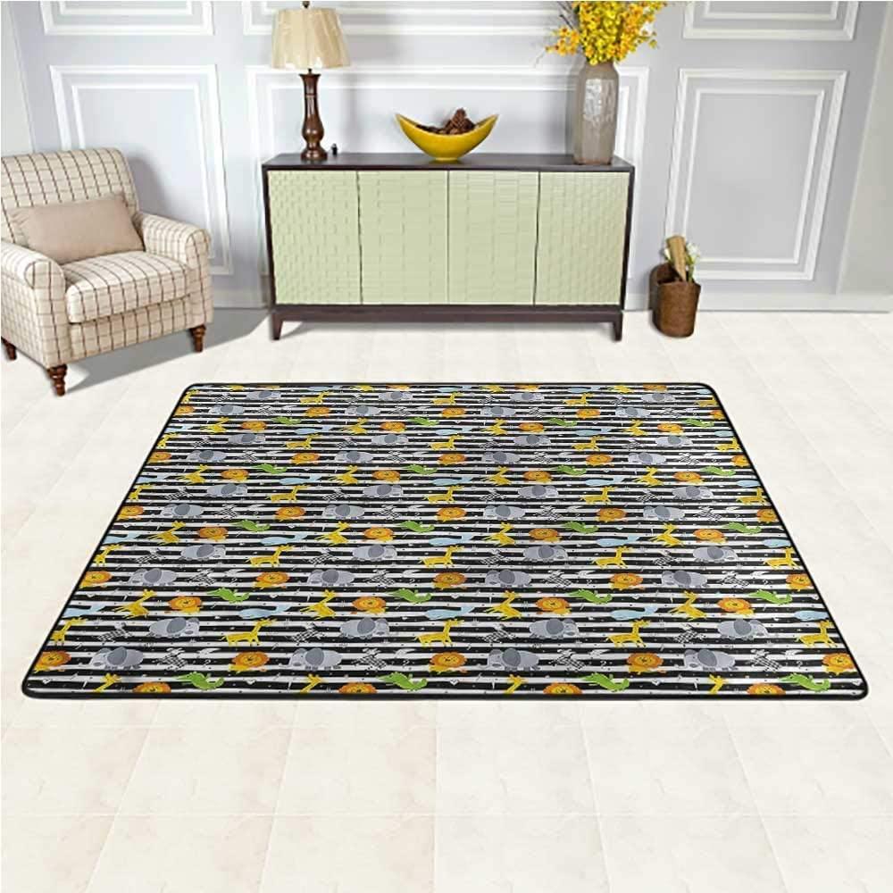 Rugs Safari, Hand Drawn Animals Wildlife Kids Carpet Extra Large Decorative Floor and Best Gift for Children 6.5 x 10 Feet