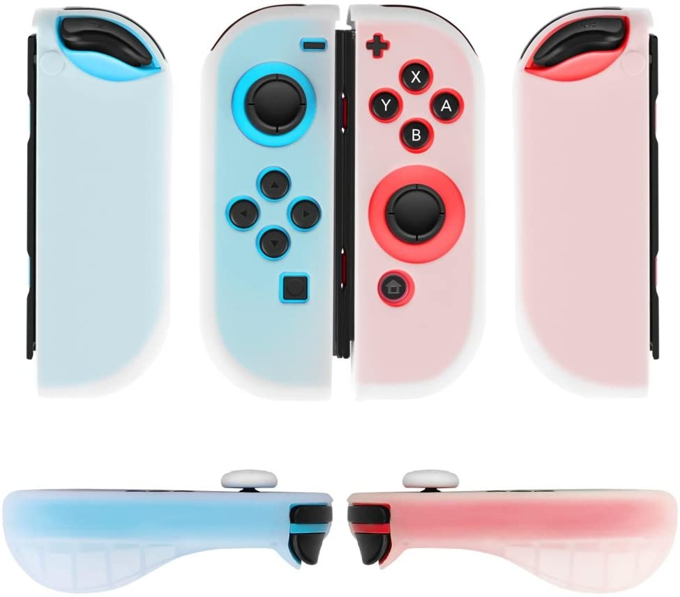 TNP Gel Guards with Thumb Grips Caps Works for Nintendo Switch Joy-Con Grip - Protective Case Covers Anti-Slip Ergonomic Lightweight Design Comfort Grip Controller Skin Accessories (1 Pair Neon White)
