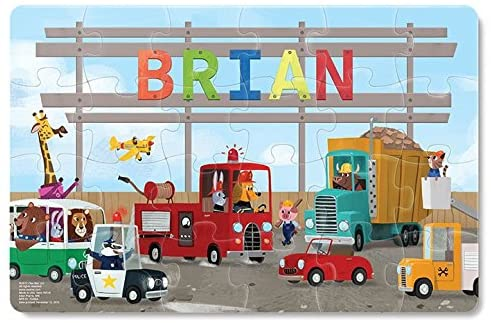 Jigsaw Puzzles for Kids Ages 3-5 Year Old 24 Piece, Toddler Children Learning Educational Toys for Boys and Girls, Trucks, Tractors, Construction, Firetruck, Digger