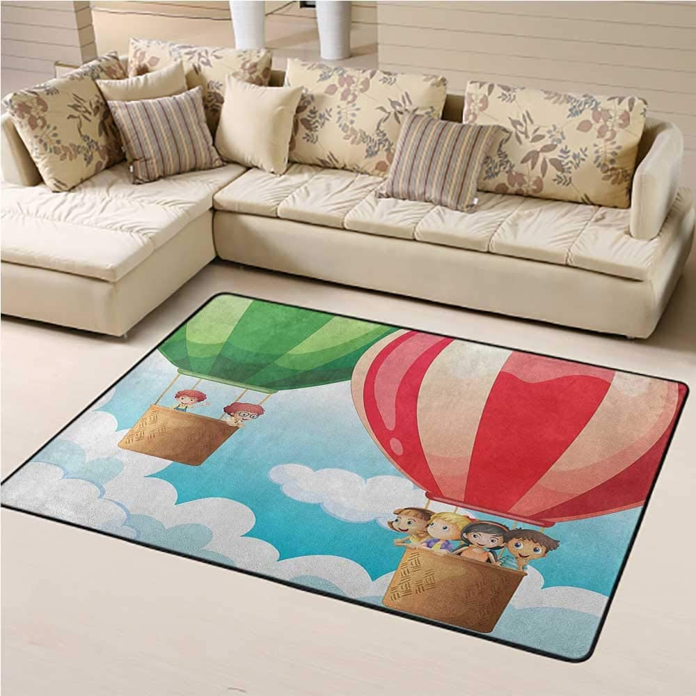 Carpets for Living Room Explore Easy to Clean and Remove Dust Children in Hot Air Balloons Flying Kids Adventure Exploration Themed Illustration 4 x 6 Ft Multicolor