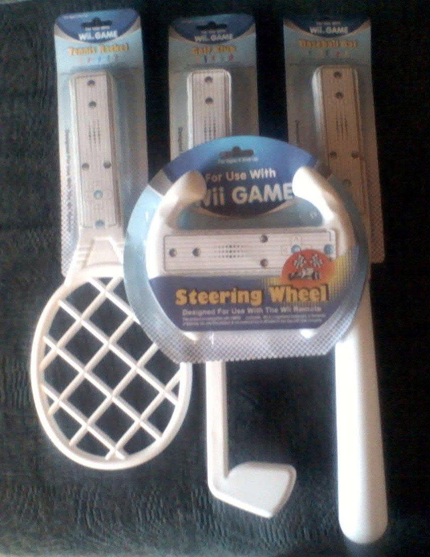 Wii Game Set Sports White Tennise Racket, Golf Club, Baseball Bat, Steering Wheel