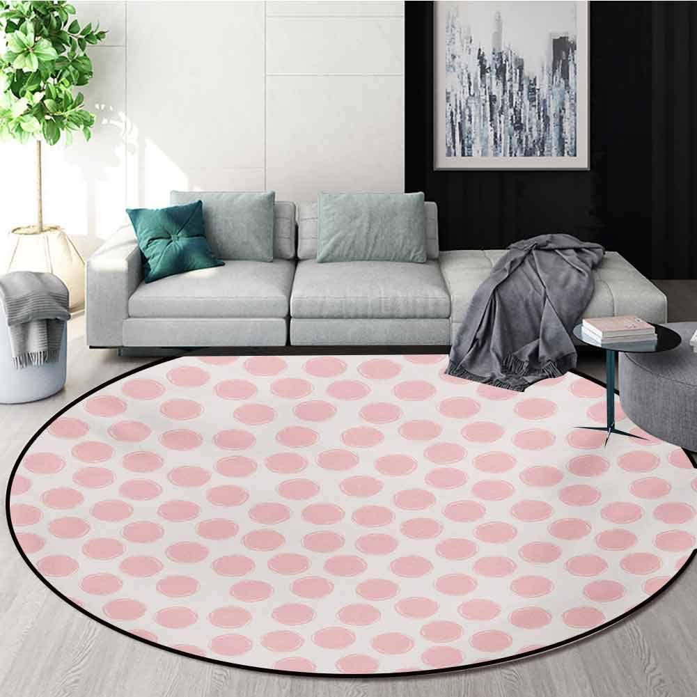 RUGSMAT Kids Carpet Gray Round Area Rug,Hand Drawn Style Dots in Pastel Color and Retro Style Sweet Childhood Pattern Pattern Floor Seat Pad Home Decorative Indoor,Round-35 Inch Blush and Coconut