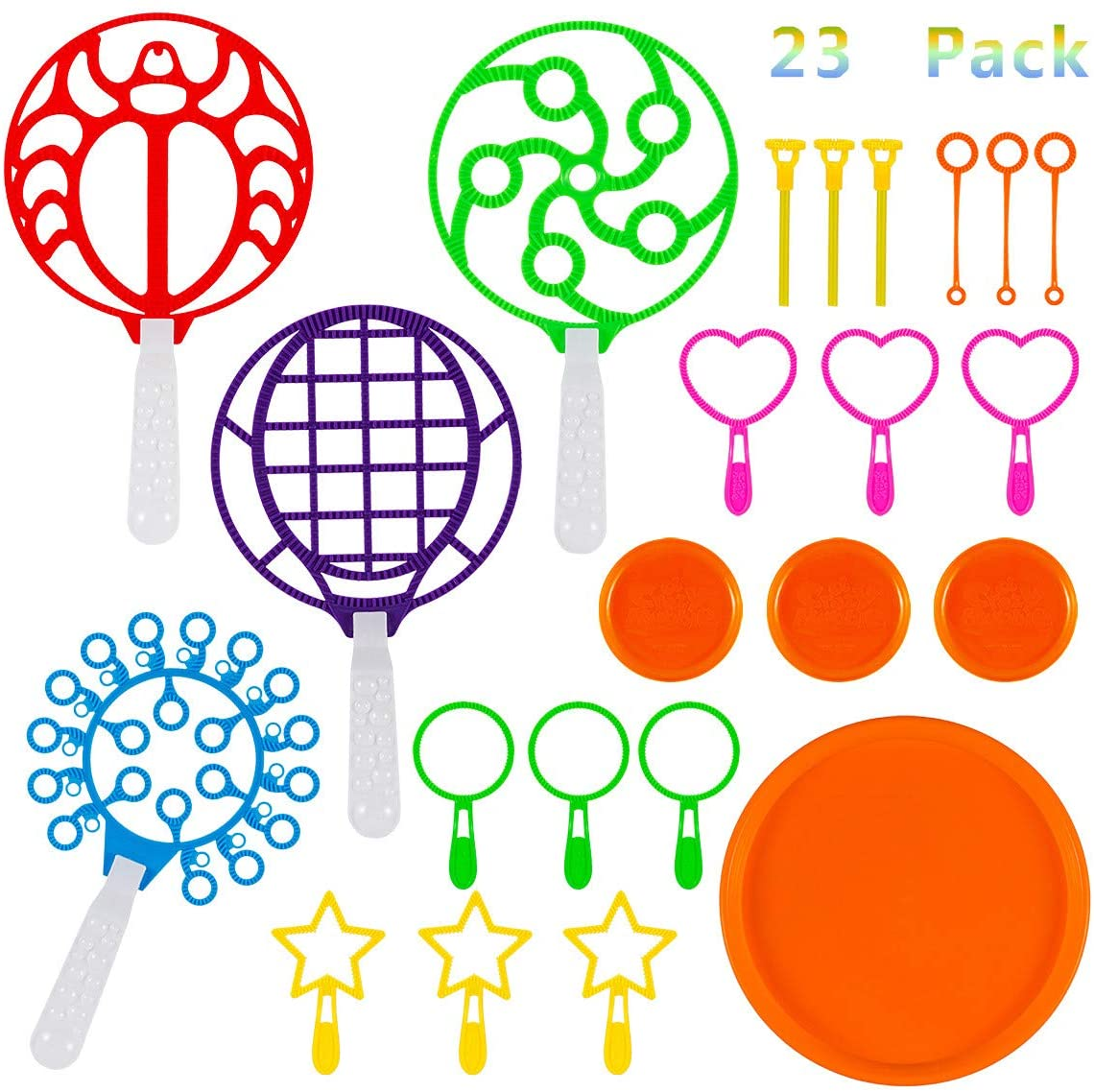 23 Pack Big Bubble Wands Set, Jumbo Colorful Bubble Wand Toy Set Bubble Making Wand with Dipping Dish for Kids and Adults Summer Outdoor Activity Party