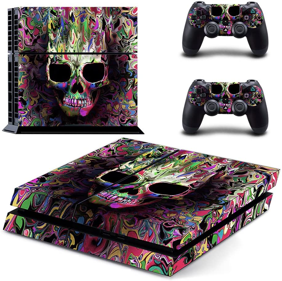 eSeeking Whole Body Vinyl Skin Sticker Decal Cover for PS4 Console and 2PCS Controllers Skins Colorful Skull