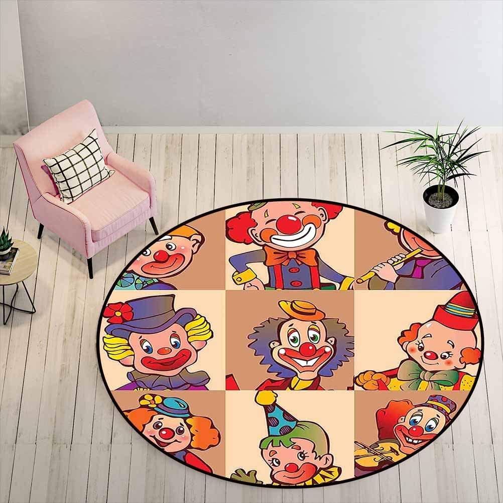 Carpet Funny Clowns Illustration Entertaining Childhood Artistic Joke Enjoyment Outdoor Rug Make Your Home More Cozy Diameter - 5 Feet