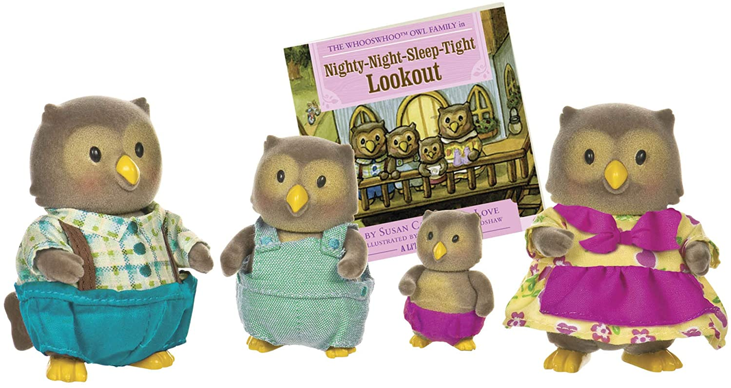 Li'l Woodzeez Owl Family Set – Whooswhoo Owls with Storybook – 5pc Toy Set with Miniature Animal Figurines – Family Toys and Books for Kids Age 3+