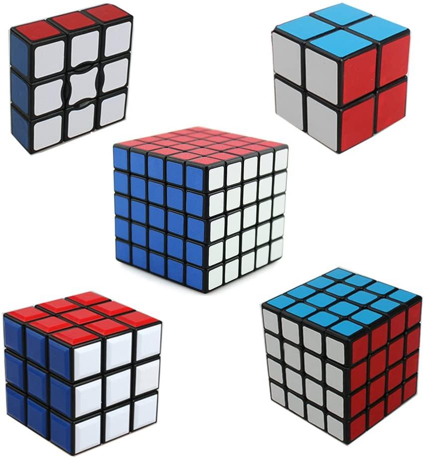 HJXD global Magic Cube Set of 5 Pack1x3x3 2x2x2 3x3x3 4x4x4 5x5x5 Sticker Speed Cubes Classical Puzzle Black