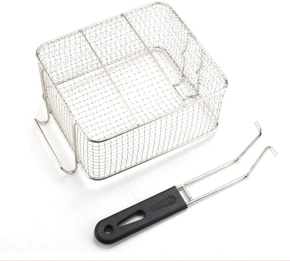 Phutto Goodluck Stainless steel Fry Basket Kitchen Tool Hanging Stainless Steel Plastic Handle Serving Square silver