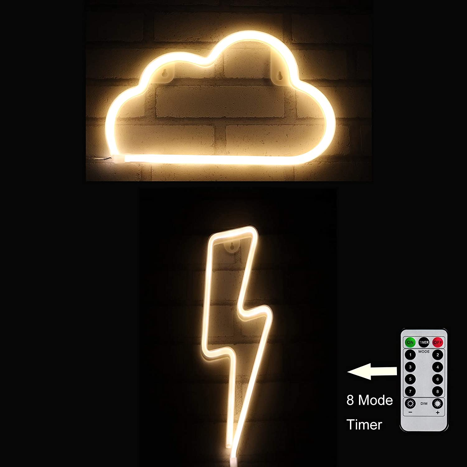 Cloud Light Lightning Bolt Neon Sign 8 Mode Flash|USB Powered Wall Art Decor for Party,Game Room, Man Gave|Warm White Neon Night Lamp|Thunder Storm Aesthetic|Birthday Christmas Gifts