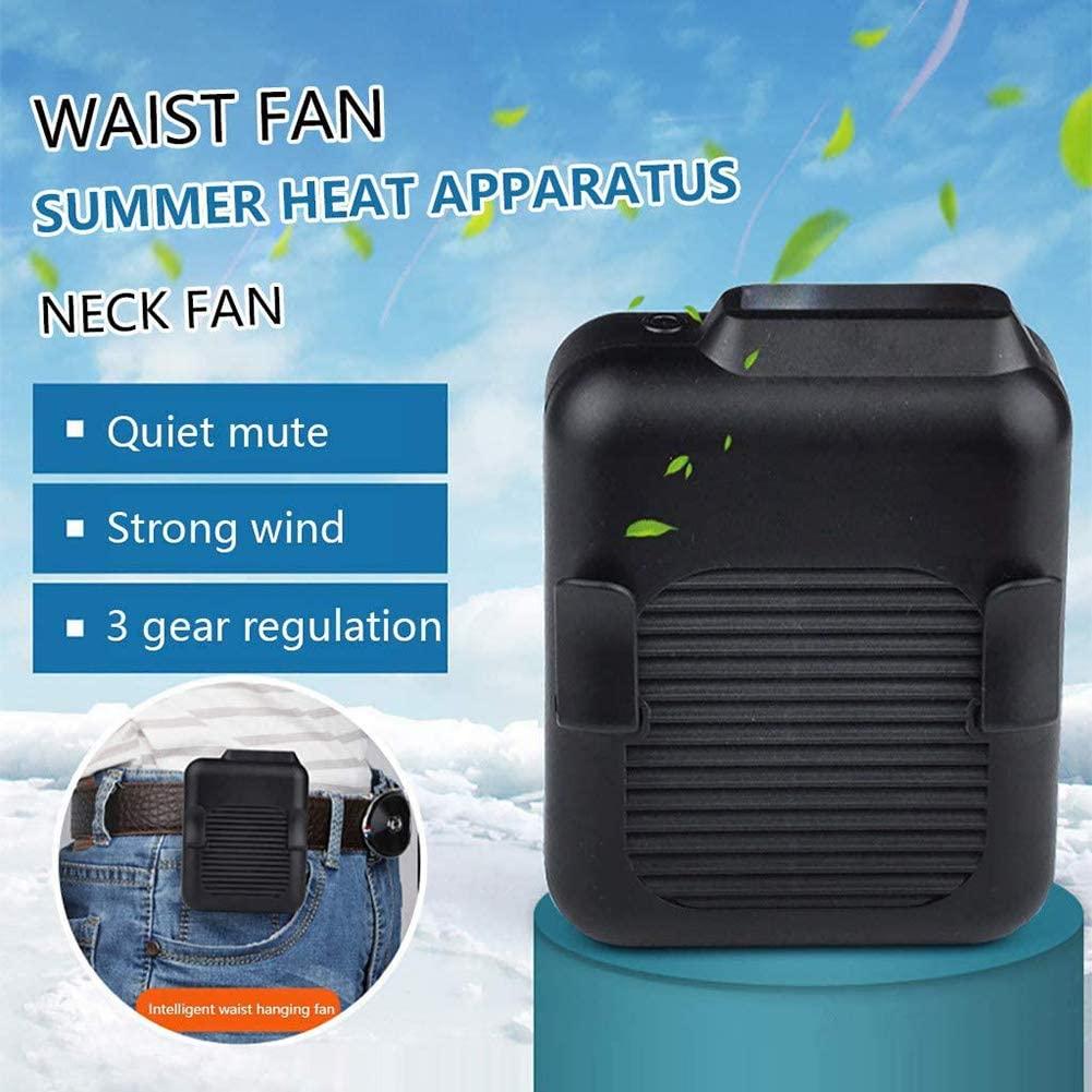 Portable Waist Clip Fan,23h Working Time Outdoor Handheld Cooling Fan,Hands-Free Wearable Fan,Personal Mini Necklace Fan Black 10x9x6.5cm(4x4x3inch)