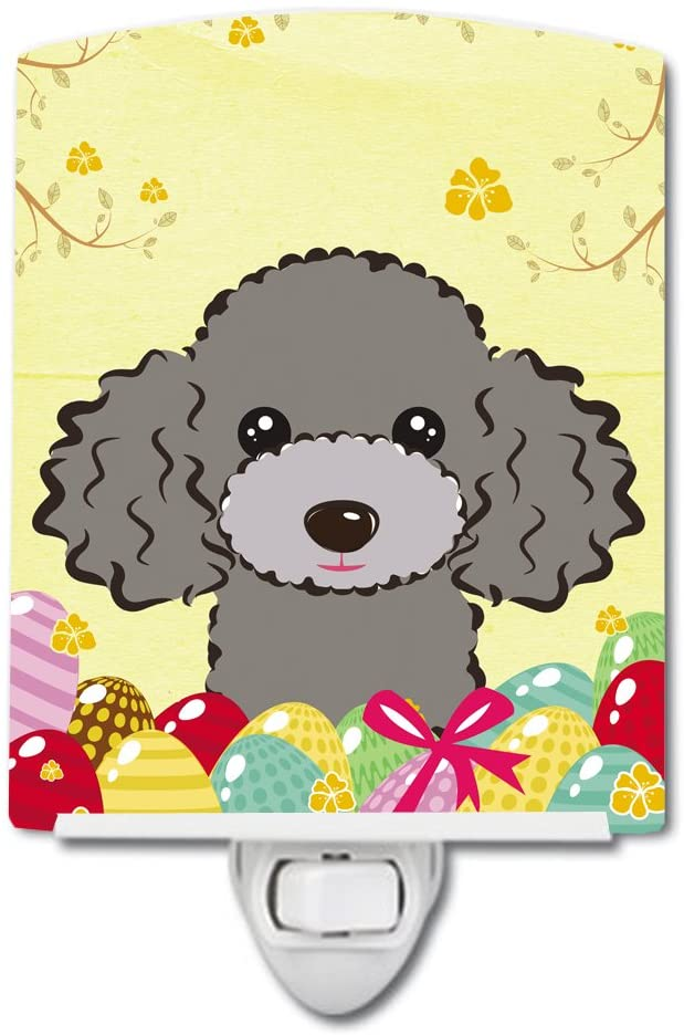 Caroline's Treasures BB1941CNL Silver Gray Poodle Easter Egg Hunt Ceramic Night Light, 6x4x3, Multicolor