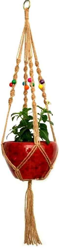 zison 41 Inches Jute Plant Hanger Holder Natural Hemp Rope for Indoor Outdoor Plants Basket Hanging Rope 4 Legs