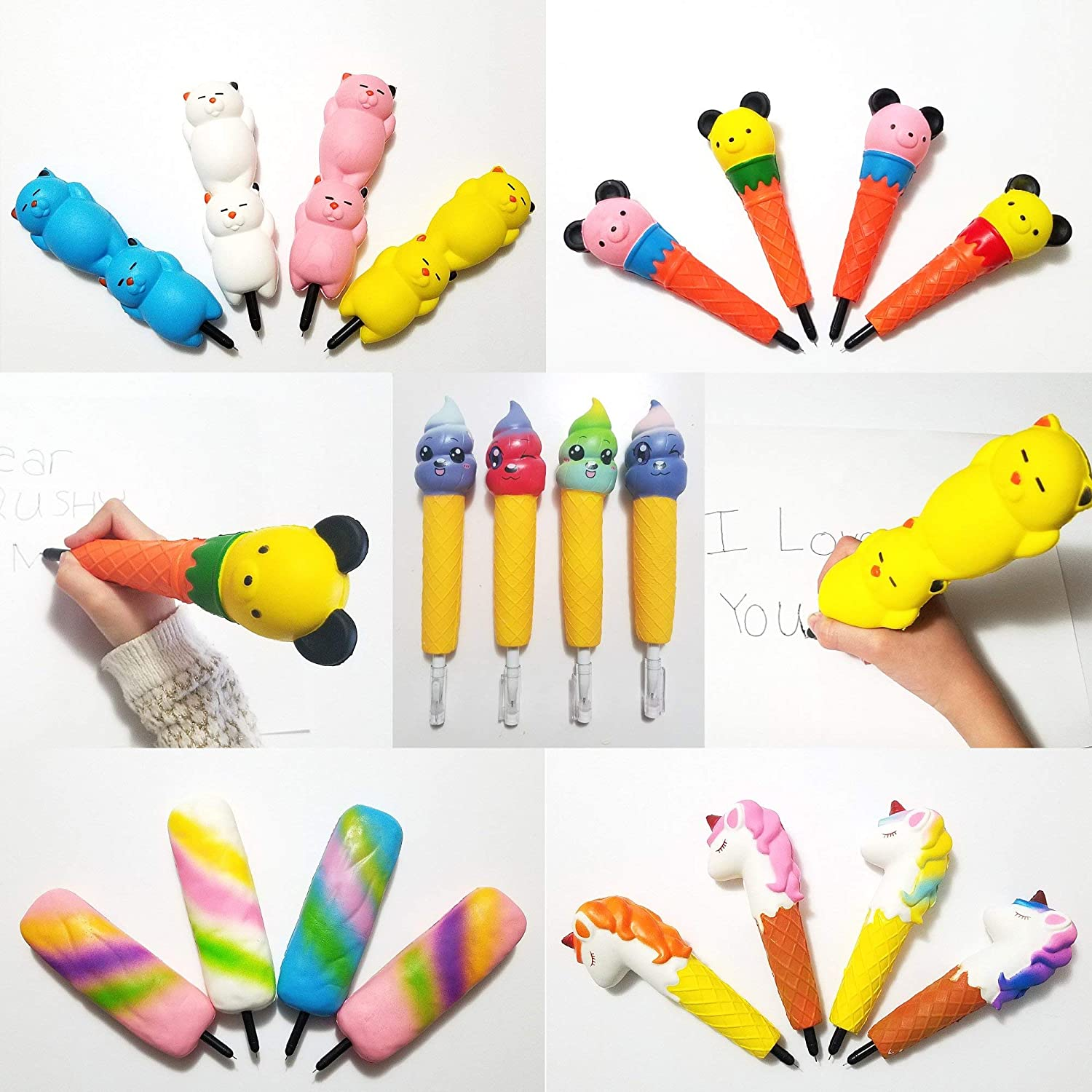 Unicorn/Cat/Ice Cream/Bear/Rainbow Popsicle Squishy Pens/Pencil Grips Toppers Holders Slow Rising Scented Squishies Kids Party Favors/Classroom/Stress Toys/Birthday/Gift (1 Each Random Color 5-Pack)