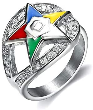Lucky Jewelry Fashionable Order of Eastern Star Rings 316L Stainless Steel Silver Color Enamel Masonic OES Charm Rings for Men and Women (6)