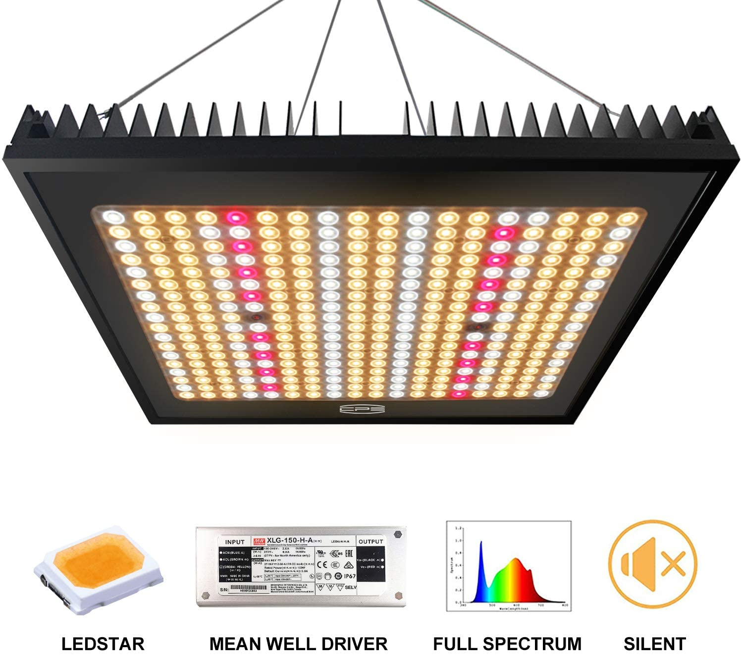 PCCOOLER CPS CP-1500 LED Plant Grow Light 3×3ft Daylight Full Spectrum Infrared Plant Growing Light IP65 Grow Lamps for Indoor Plant Commercial LED Grow Hydroponic Growing Light Updated 324 LEDs