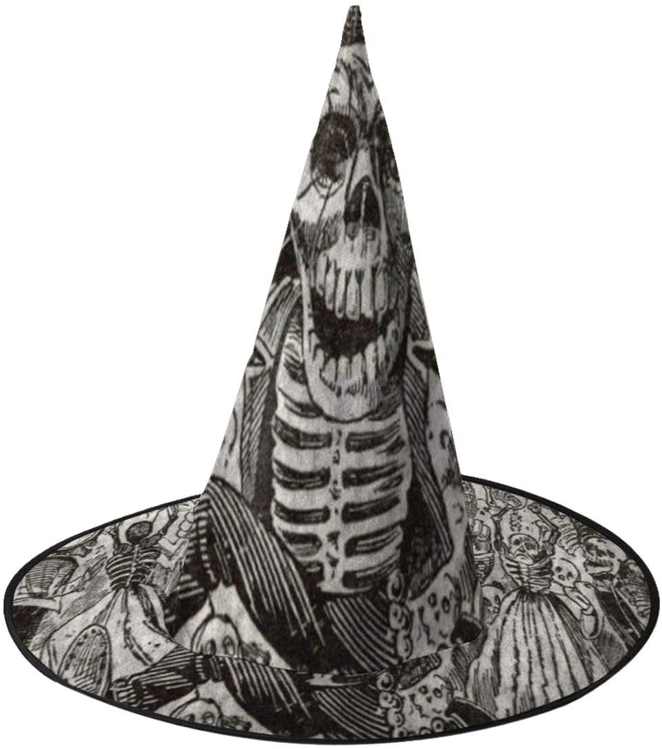 Halloween Witch Hat,Vintage Mexico Skull Halloween Costume Witch Hat for Holiday Party