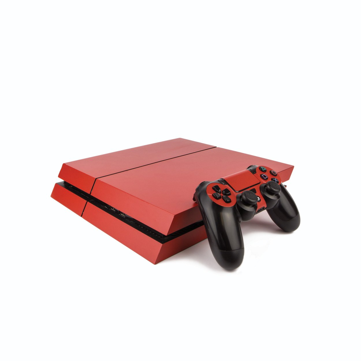 Premium PS4 PlayStation 4 Colourful Vinyl Wrap / Skin / Cover for PS4 Console and PS4 Controllers:Matte Red