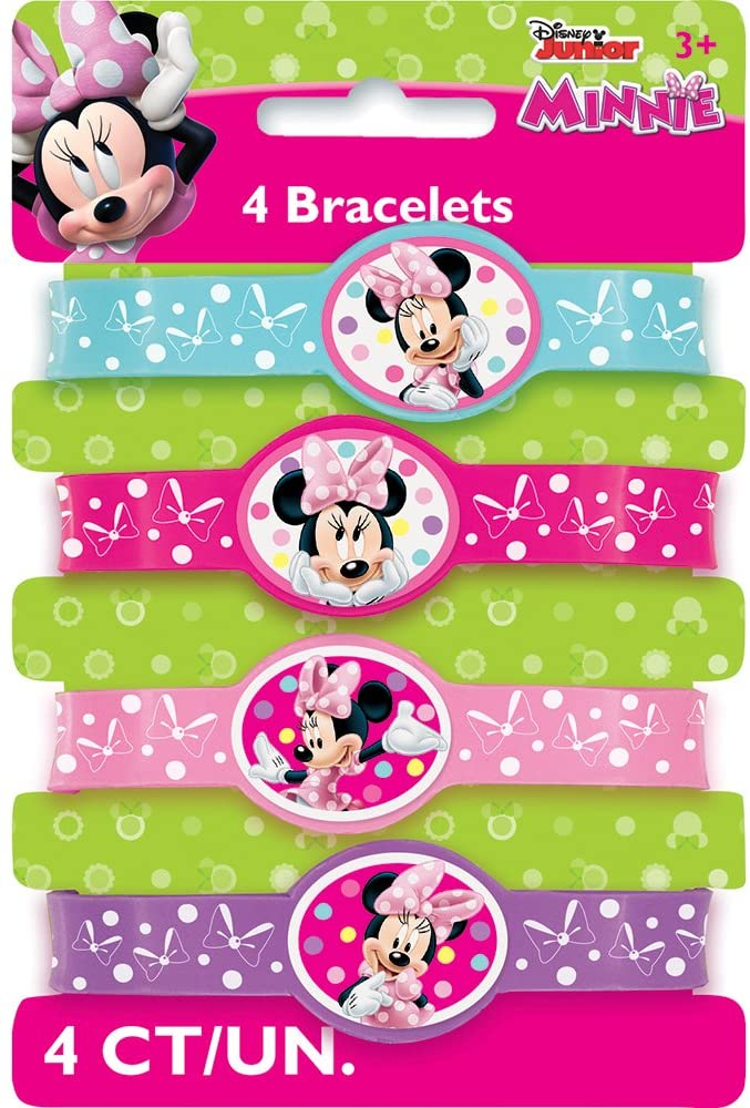 Minnie Mouse Silicone Wristband Party Favors, 4ct