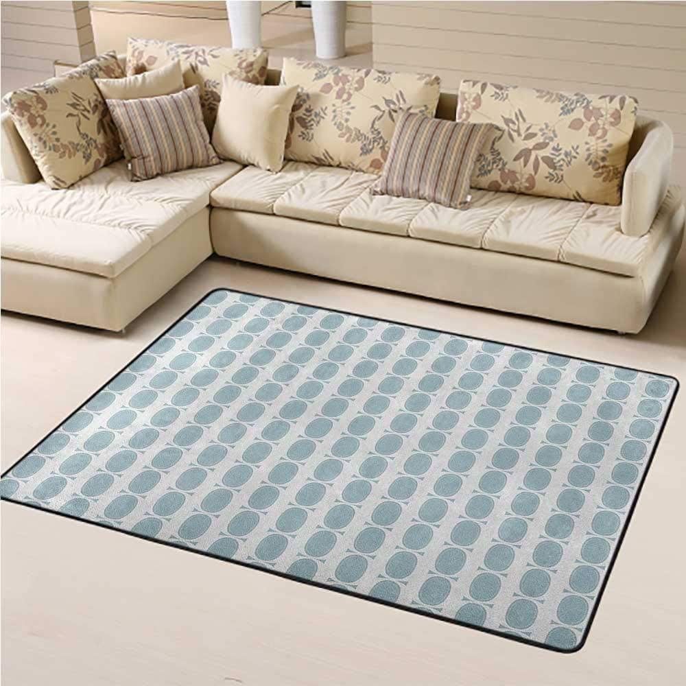 Carpet Blue Kids Carpet Vintage 60s Living Room Inspired Round Circled Chain Like Shapes Art Print 6 x 9 Ft Baby Blue and White