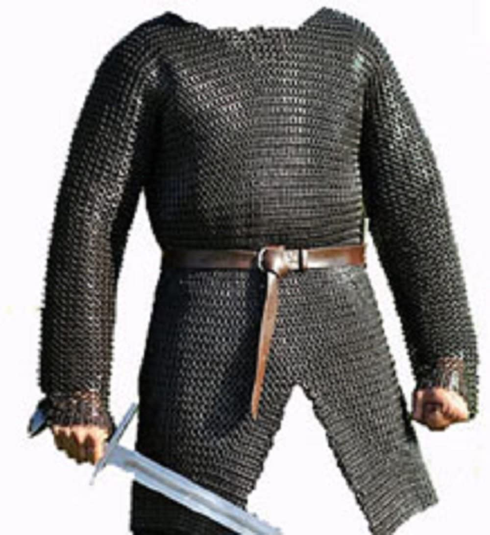 SANGAMSTEELCRAFT Full Sleeve Hubergion Shirt Round Riveted with Flat Warser Chainmail Shirt 9 mm