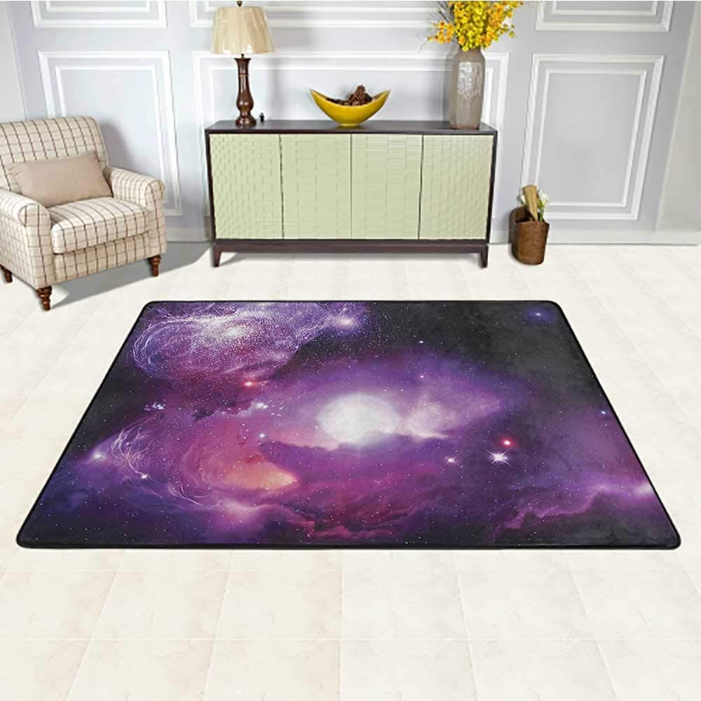 Space Decorations Collection Carpets for Living Room 5' x 7', Fantasy Space Nebula with Magical Planet Movement in Star Clusters Galaxy Print Kids Play Rug, Black Purple