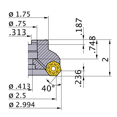 Mitsubishi Materials AHX640SUL2504AA AHX640S Series Arbor Face Milling Cutter with Coolant, Left Hand, 40° Angle, 4 Teeth, 2.5