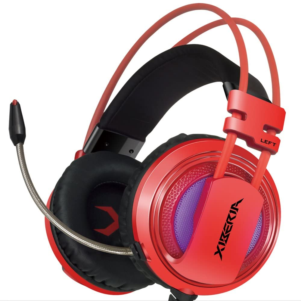 XIBERIA V10 PC Gaming Headphones Over-ear USB Headset with Microphone Volume Control - Red