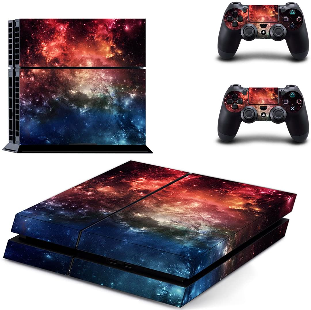 eSeeking Whole Body Vinyl Skin Sticker Decal Cover for PS4 Console and 2PCS Controllers Skins Orange Nebula