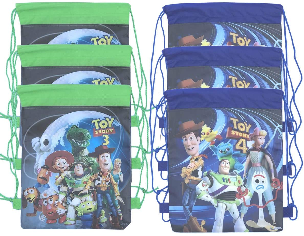 Toy Story 4 Party Decorations for Kids Girls Toy Story 3 Party Bags Drawstring Bag Gift Bag Goodies 6 Pack