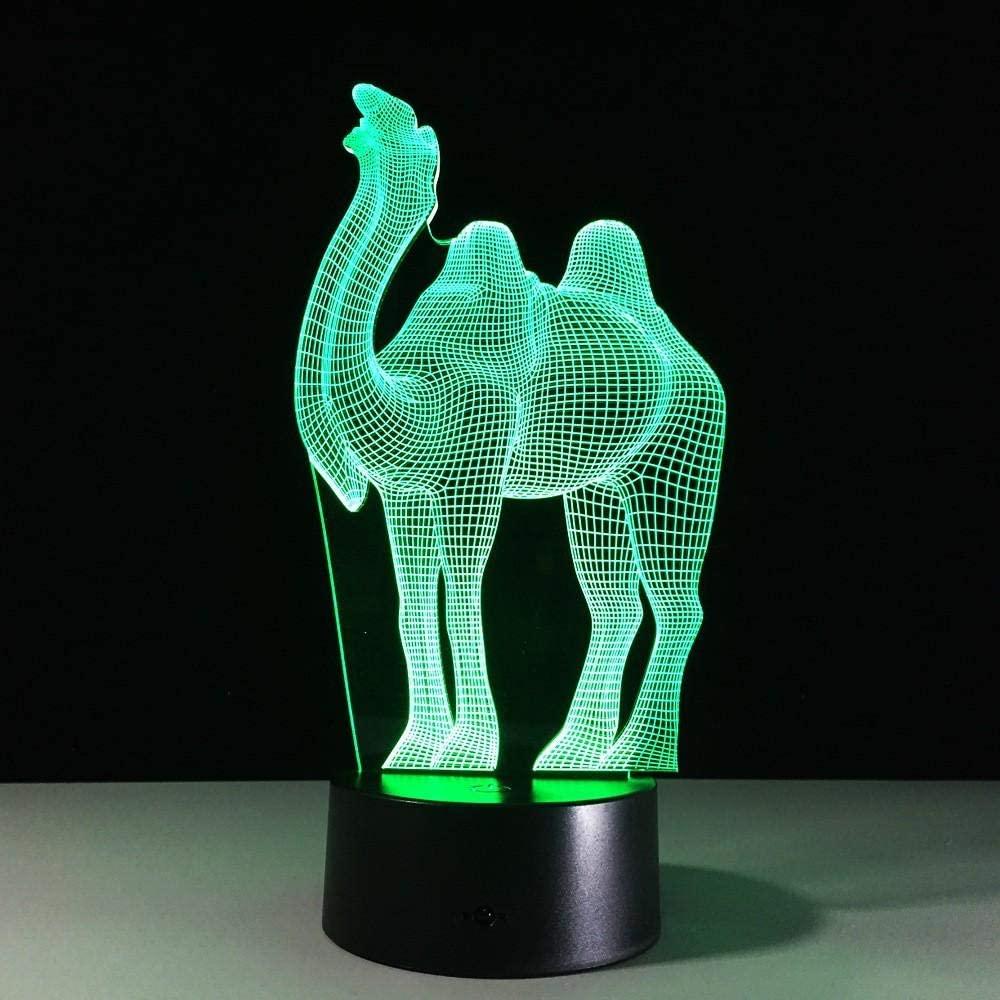 TYWFIOAV Night Light for Kids Birthday 3D Illusion Lamp Kid Toys Optical Gifts for Boys Men Home Decor Office Bedroom Party Web Nursery Lightingcamel