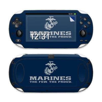USMC Blue Design Protective Decal Skin Sticker (High Gloss Coating) for Sony Playstation PS Vita Handheld