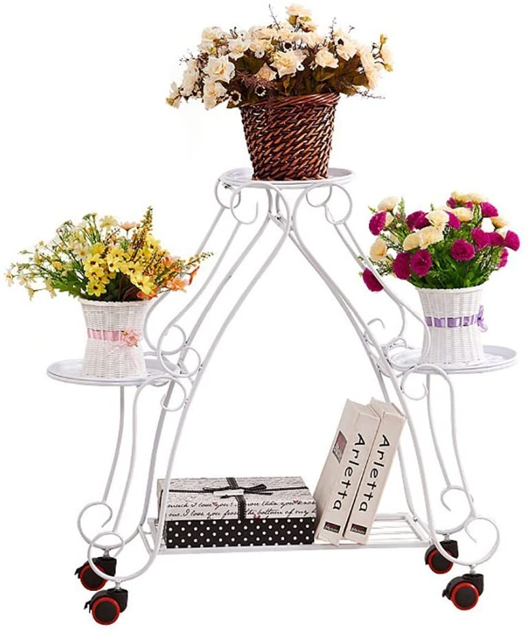 PLLP Home Plant Stand,Flower Stand/Flower Display Stands Flower Stand Iron Art Multilayer Continental Mobile Flower Stand Floor-Standing Flower Pot Shelf Balcony Indoor Outdoor Flower Racks,a