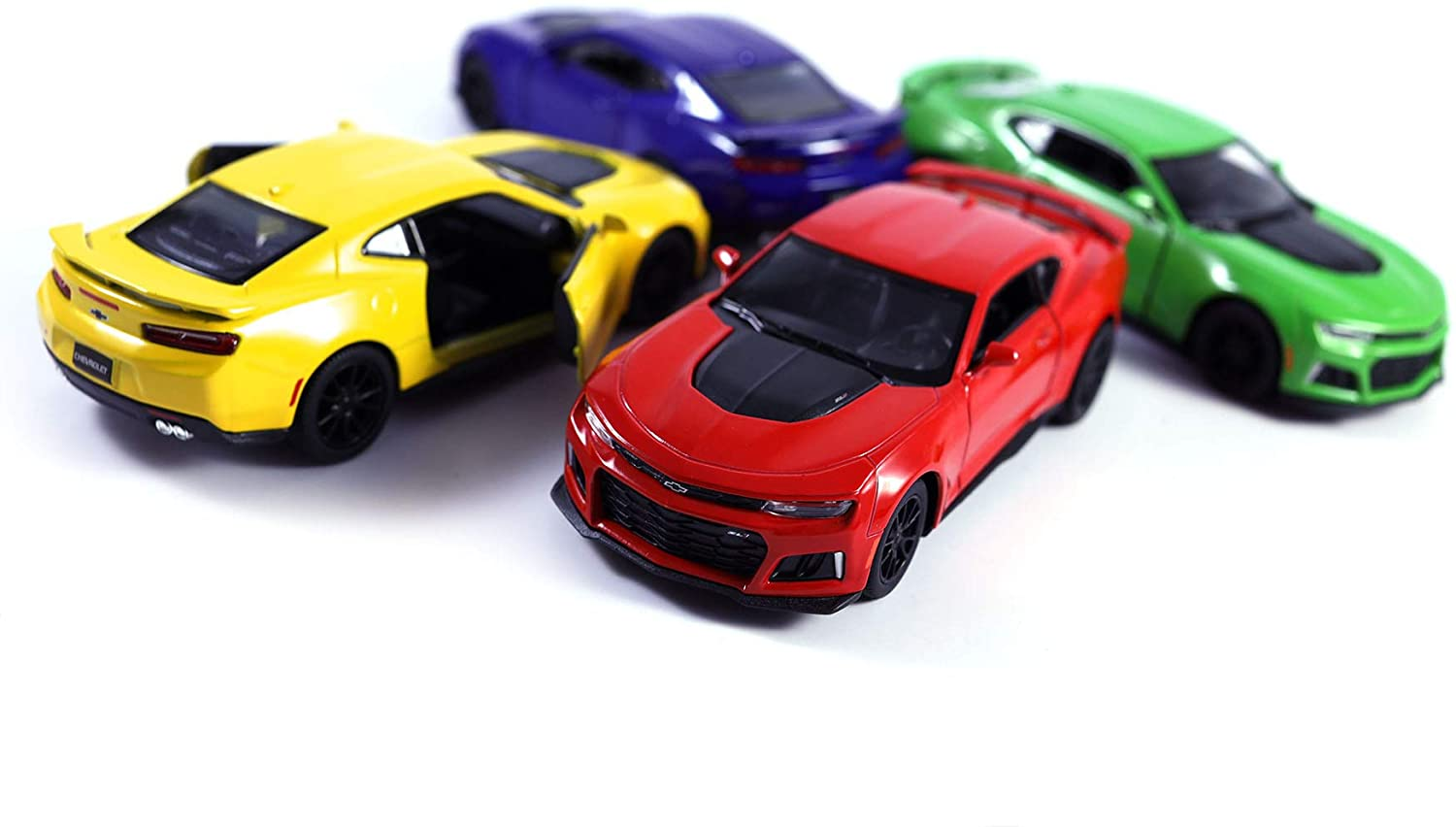 HCK Set of 4 2017 Chevy Camaro - Pull Back Toy Cars 1:38 Scale (Yellow/Red/Blue/Green)