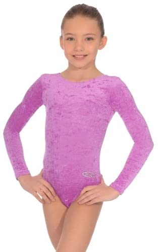 The Zone Z102RAM Long-Sleeved Gymnastics Leotard, Crushed Velour, Amethyst, Size 26