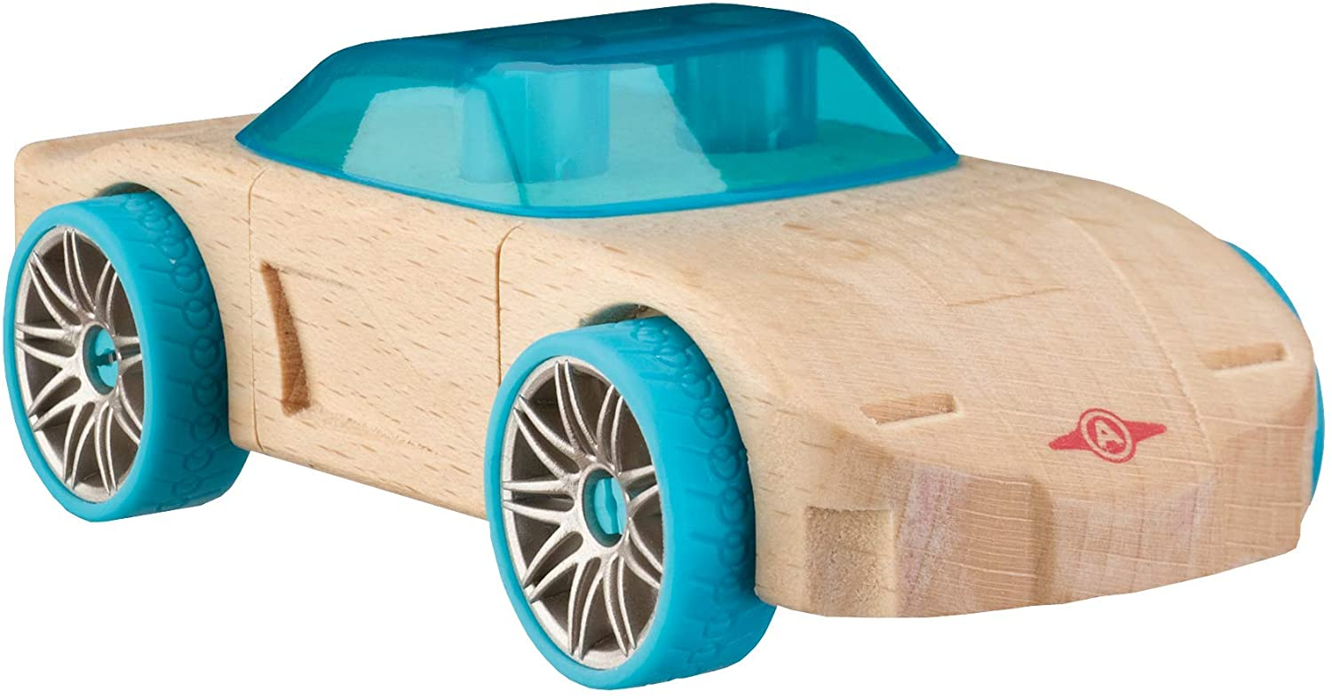 Automoblox Collectible Wood Toy Cars and Trucks—Mini C11 Nebulous (Compatible with other Mini and Micro Series Vehicles), Aqua Blue, 4.75
