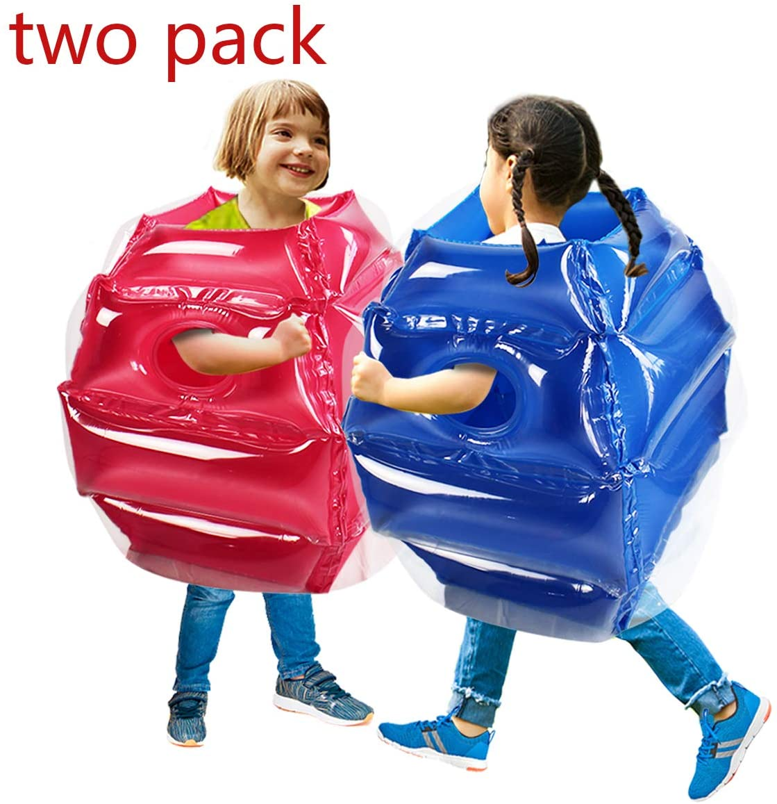 SUNSHINEMALL 2PC Bumper Balls, Inflatable Body Bubble Ball Sumo Bumper Bopper Toys for Kids 25.2 - Heavy Duty Durable PVC Vinyl Suits for Grassland or Other Outdoors Play (2PC Blue+Pink)