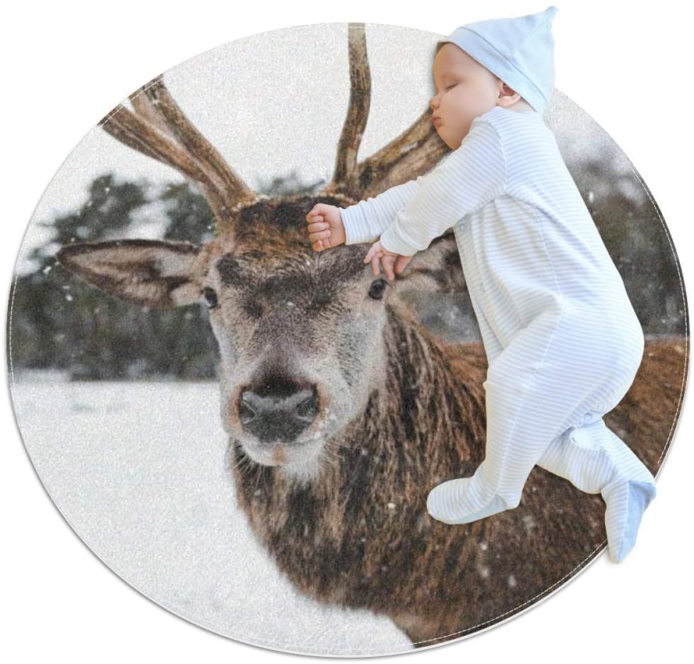 Deer in The Snow Kids Playmat Round Soft Modern Rugs for Floor Non-Slip for Room Decorations 31.5x31.5IN
