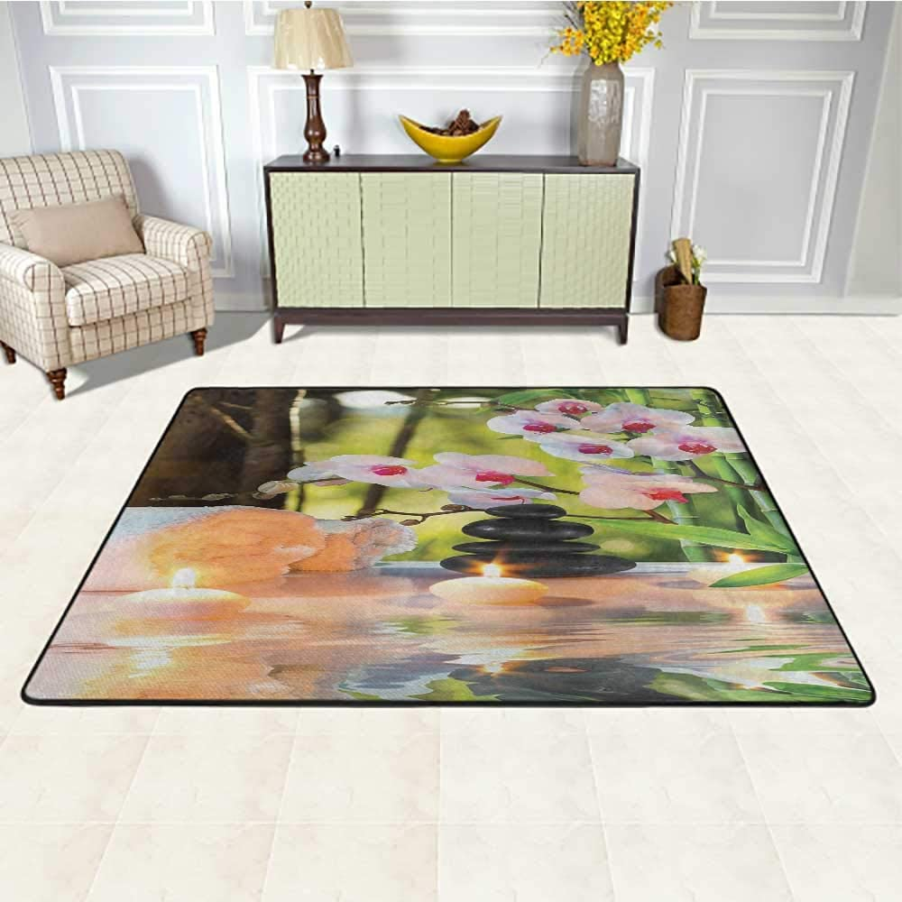Spa Indoor Outdoor Carpet 5' x 7', Massage Composition Spa Theme with Candles Orchids and The Stones in Garden Kids Play Rug, Pale Green Fuchsia