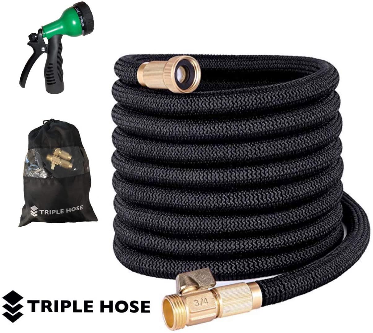 "Triple Hose Garden Hose | Strongest Expandable Hose Triple Layer Latex Core | ¾"" Solid Brass Shut Off Valve | Heavy Duty Nylon Outer Cover | Flexible Expanding Hose | Storage | Gift Bag (100, Black)"