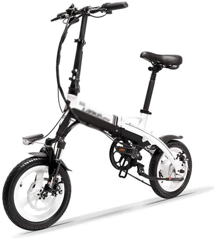 qx Scooter Mini Portable Folding E Bike, 14 inch Electric Bicycle, 36V 350W Motor, Magnesium Alloy Rim, Suspension Fork,Black White