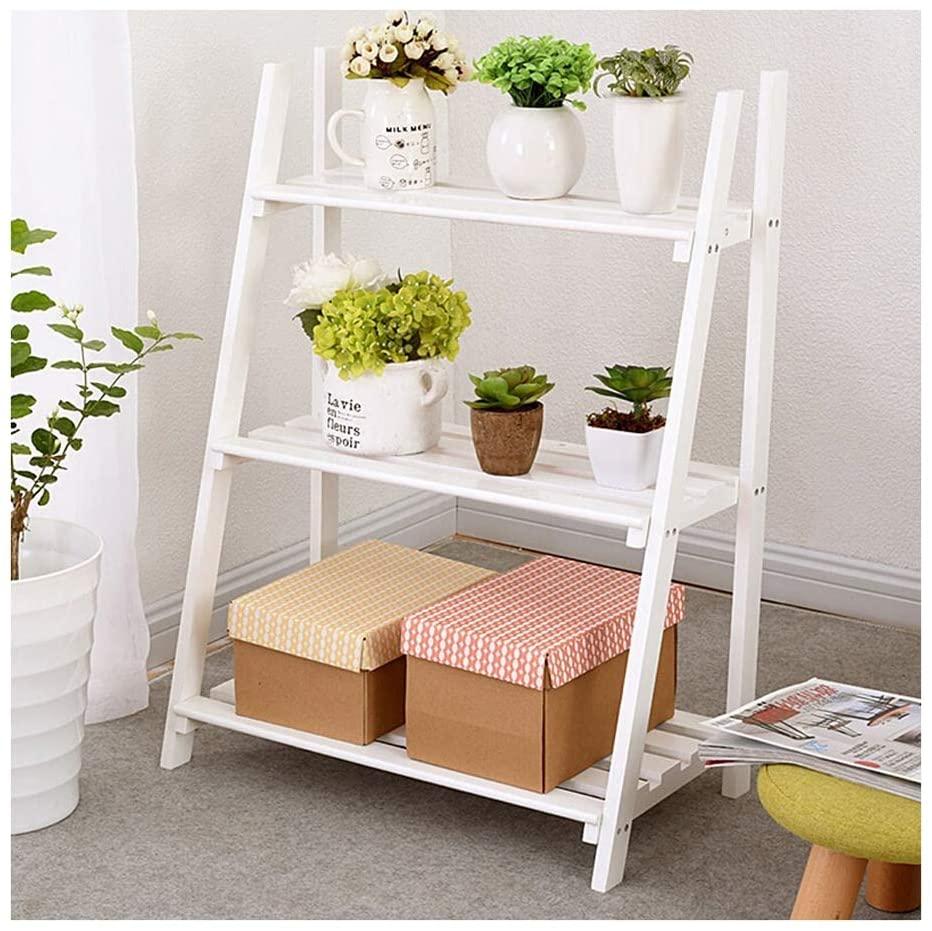 QNN Plant Stands,Three-Tiered Flower Stand, Floor Balcony, Shelf, Living Room, Flower Pot Holder, White Decorative Flower Pots