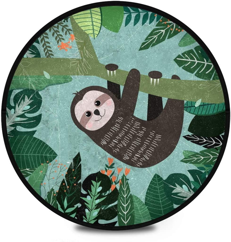Shaggy Round Mat Tropical Sloth Round Rug for Kids Playroom Anti-Slip Rug Room Carpets Play Mat