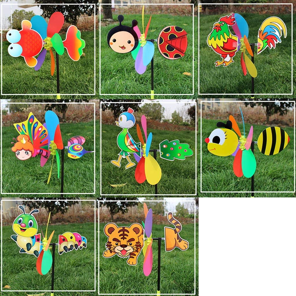 QINYUAN Garden Spinner Wind Stake, Colorful Cartoon Animal Windmill Home Yard Outdoor Decor